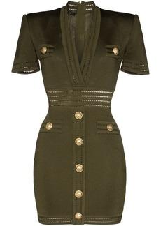 Balmain v-neck button-embellished mini dress