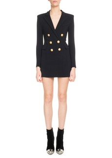 Balmain V-Neck Long-Sleeve 6-Button Jersey Blazer Dress