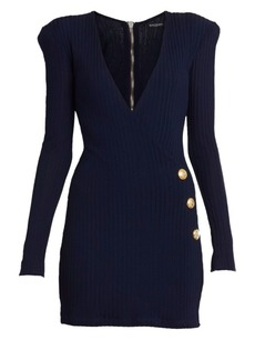 Balmain V-Neck Ribbed Mini Wrap Dress