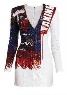 Balmain V-Neck Sequin Mini Dress