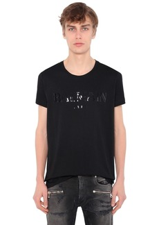 Balmain Vinyl Logo Cotton Jersey T-shirt