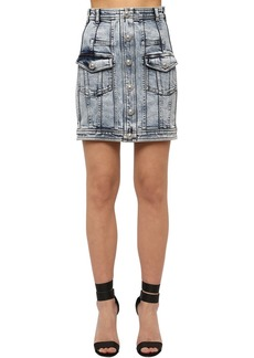 Balmain Washed Cotton Blend Denim Mini Skirt
