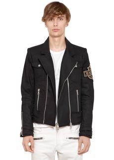 Balmain Waxed Cotton Denim Jacket W/ Patch