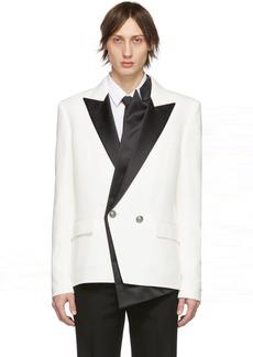 Balmain White & Black Crepe Double-Breasted Blazer