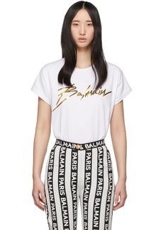 Balmain White & Gold Logo T-Shirt