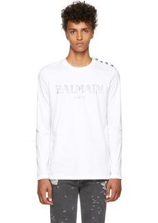 Balmain White Logo Long Sleeve T-Shirt