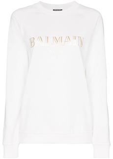 Balmain white logo print cotton t shirt