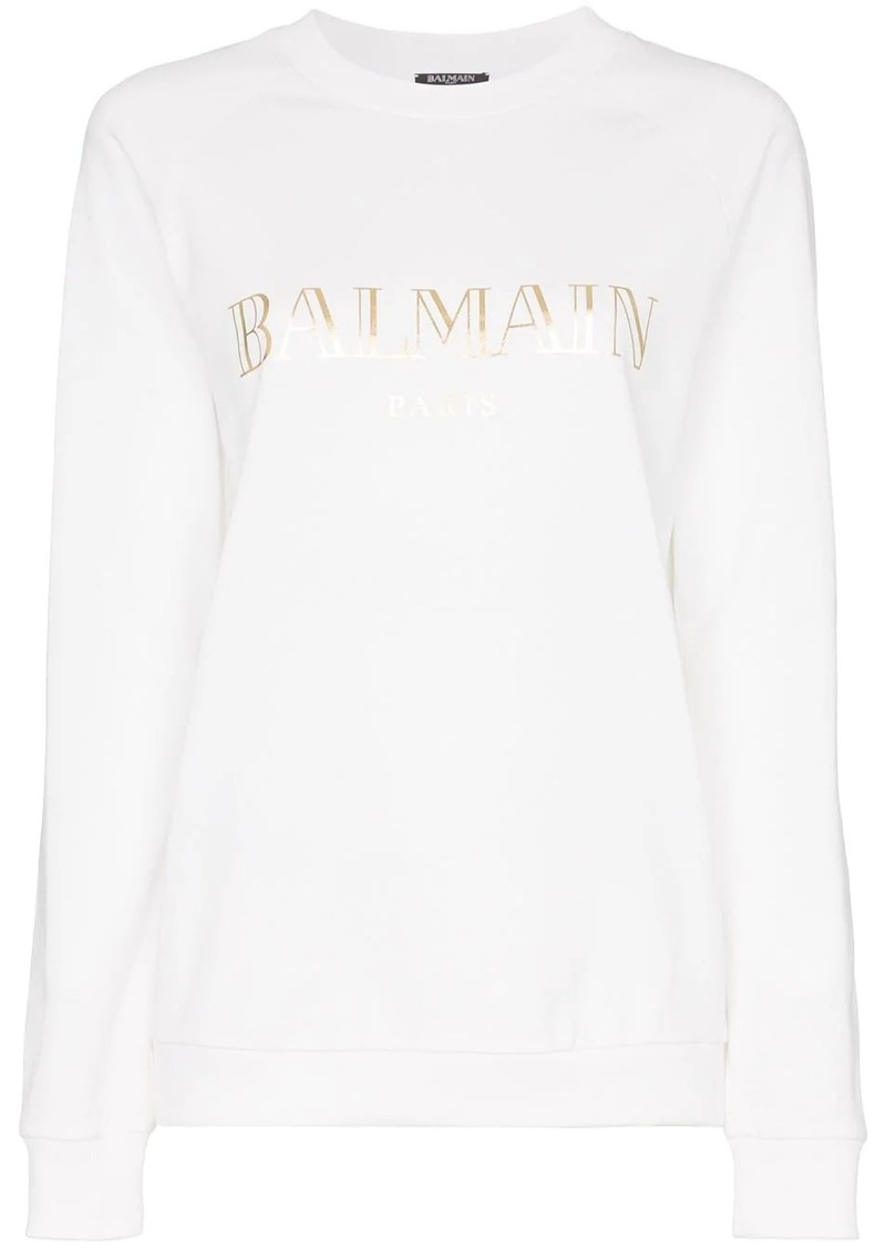 Balmain white logo print cotton t shirt