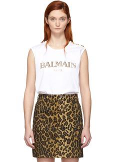 Balmain White Logo Tank Top