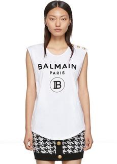 Balmain White Three Button Tank Top