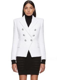 Balmain White Tweed 6 Button Blazer