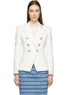 Balmain White Tweed Double-Breasted Blazer