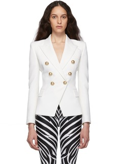 Balmain White Wool Double-Breasted Blazer