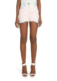 Women's Balmain Colorblock High Waist Denim Shorts