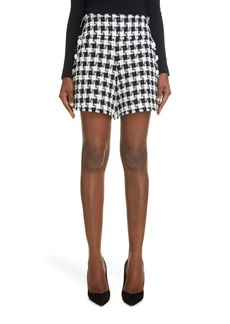 Women's Balmain Gingham Tweed High Waist Shorts