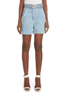 Women's Balmain Logo Belt Pleat Denim Shorts