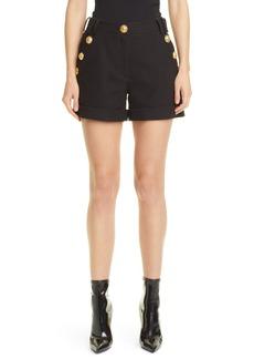Women's Balmain Low Rise Button Detail Cotton Pique Shorts