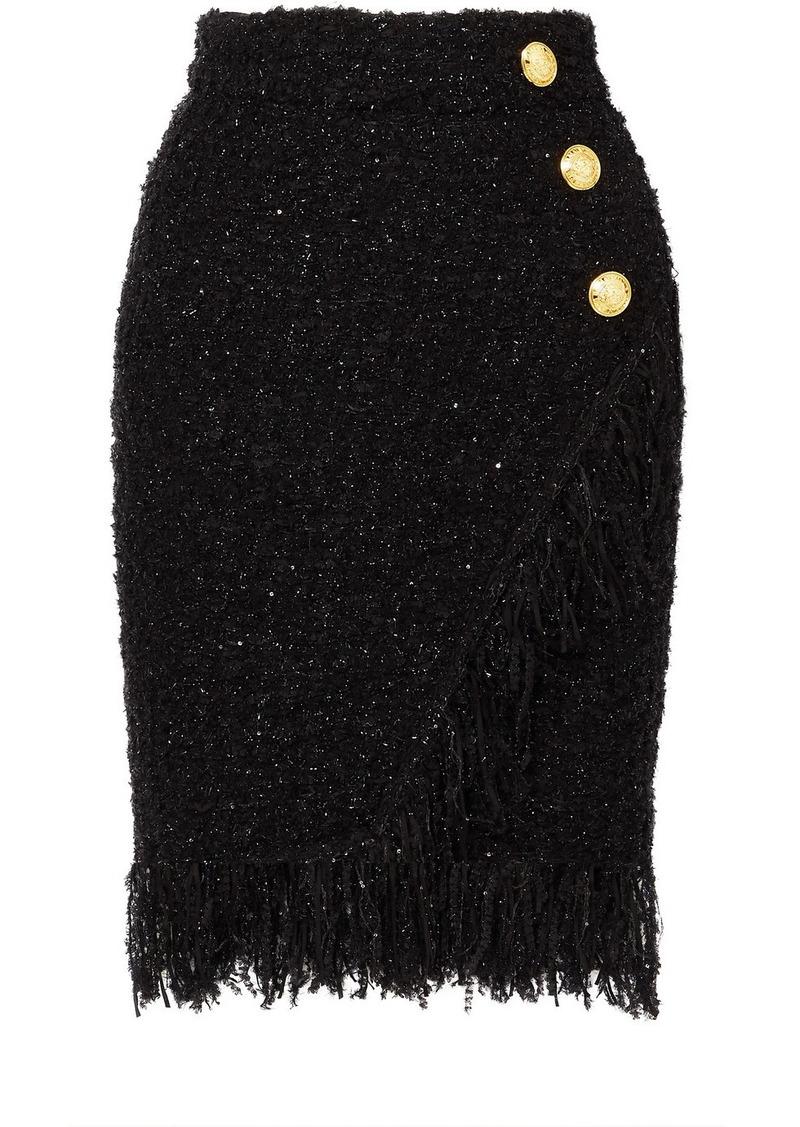 Balmain Wrap-effect Button-embellished Fringed Metallic Tweed Skirt