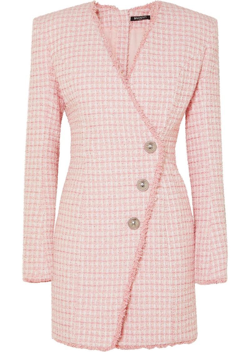 Balmain Wrap-effect Button-embellished Tweed Mini Dress