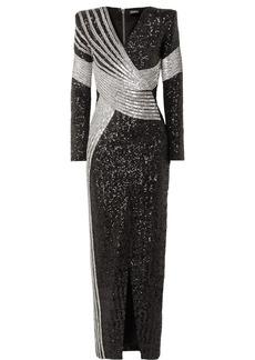 Balmain Wrap-effect Embellished Stretch-satin Gown