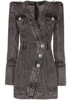 Balmain wrap style button-up denim dress