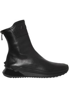 Balmain Zipped High Top Leather Sneakers