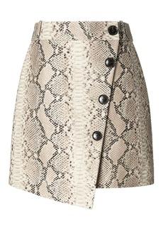 Banana Republic x Olivia Palermo | Snake-Effect Italian Leather Button-Wrap Skirt