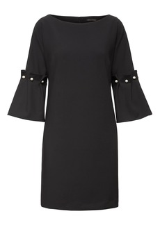 Bell-Sleeve Shift Dress with Pearl Accents