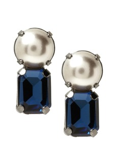 Banana Republic Bezel Stone and Pearl Stud Earring