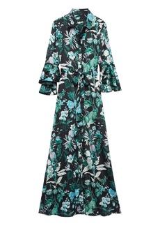 Banana Republic Botanical Print Flutter-Sleeve Maxi Shirt Dress