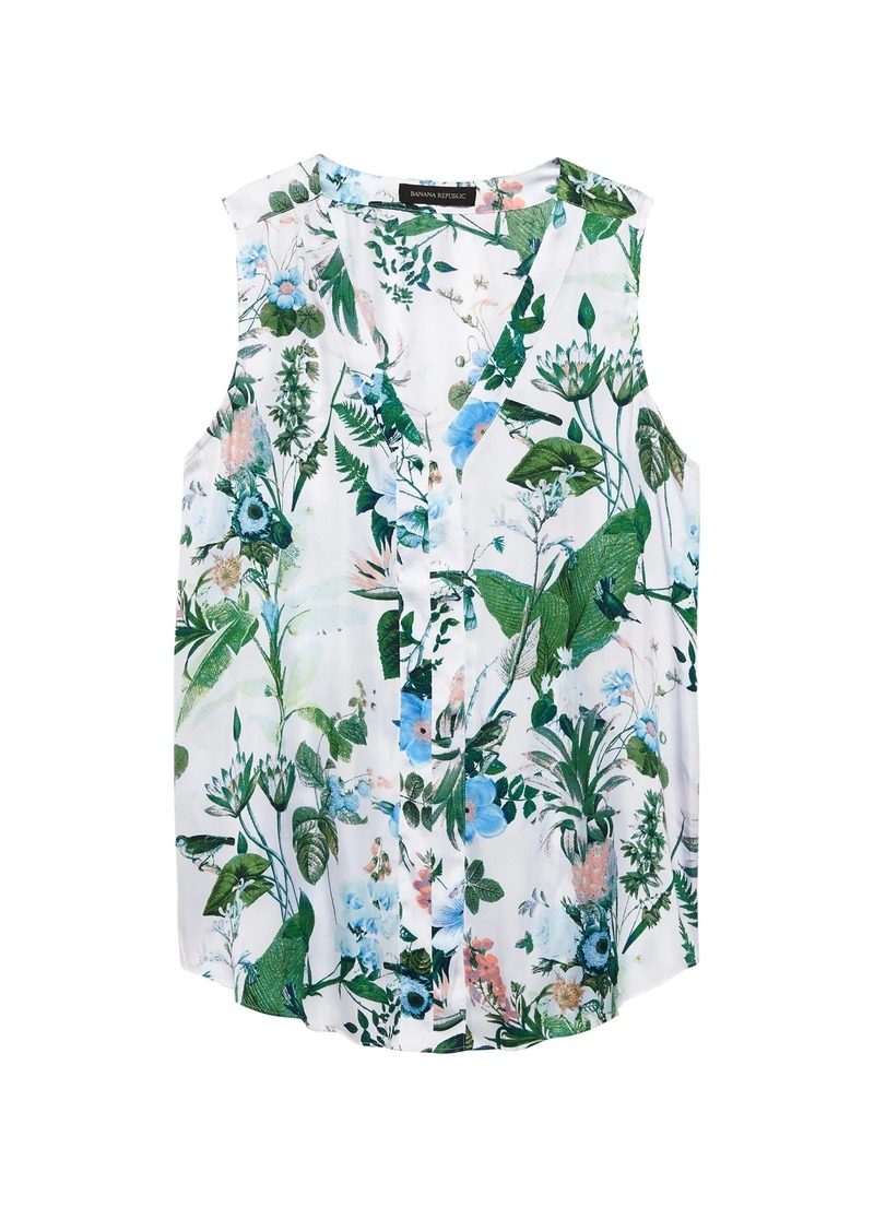 Banana Republic Botanical Print Sleeveless V-Neck Top