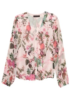 Banana Republic Botanical Print Wrap-Front Top