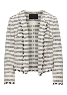 Bouclé Stripe Jacket with Frayed Edges