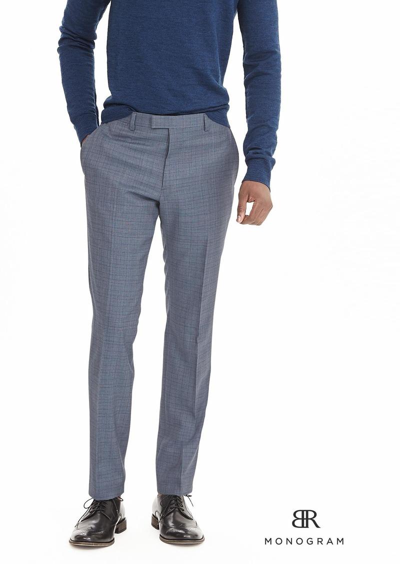 Banana Republic BR Monogram Blue Plaid Wool Suit Trouser
