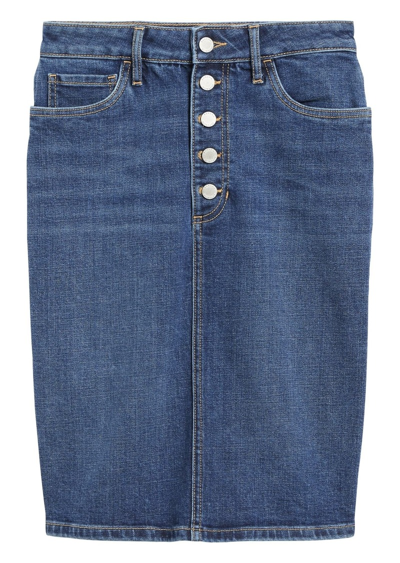 Banana Republic Button-Fly Denim Pencil Skirt