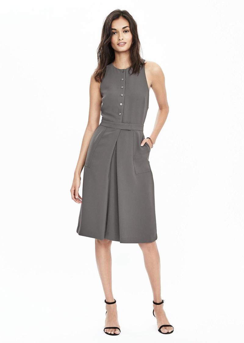 Banana Republic Button-Front Crepe Pocket Dress