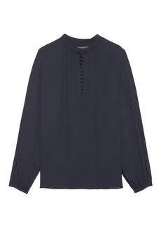 Banana Republic Button-Front Poet-Sleeve Top