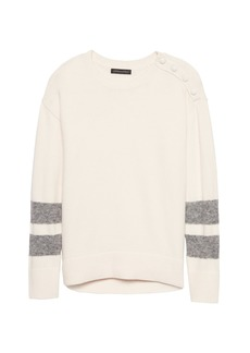 Banana Republic Button-Shoulder Stripe-Sleeve Sweater