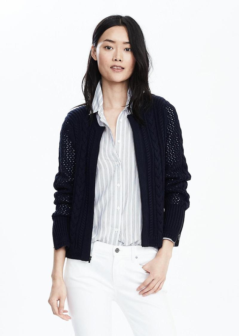 Banana Republic Cable-Mesh Sweater Jacket