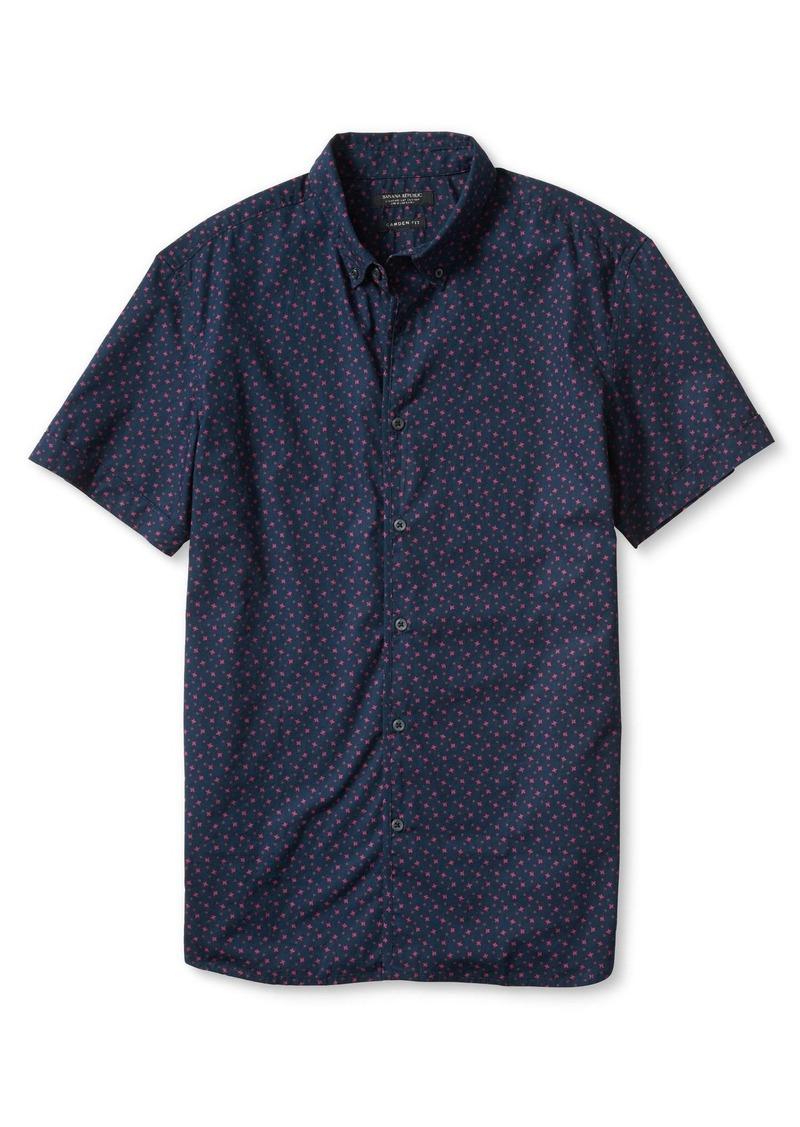 Banana Republic Camden-Fit Custom Wash Short Sleeve Print Shirt