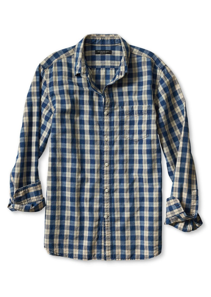 Banana Republic Camden-Fit Denim Check Shirt