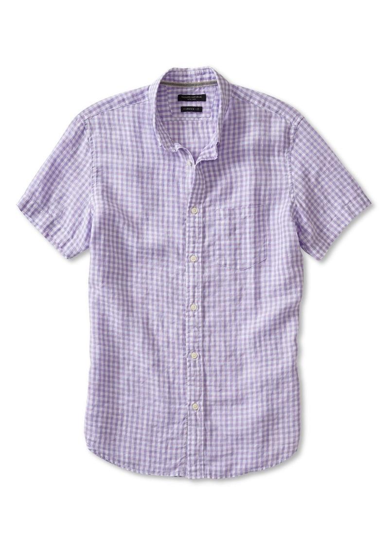 Banana Republic Camden-Fit Linen Gingham Short-Sleeve Shirt