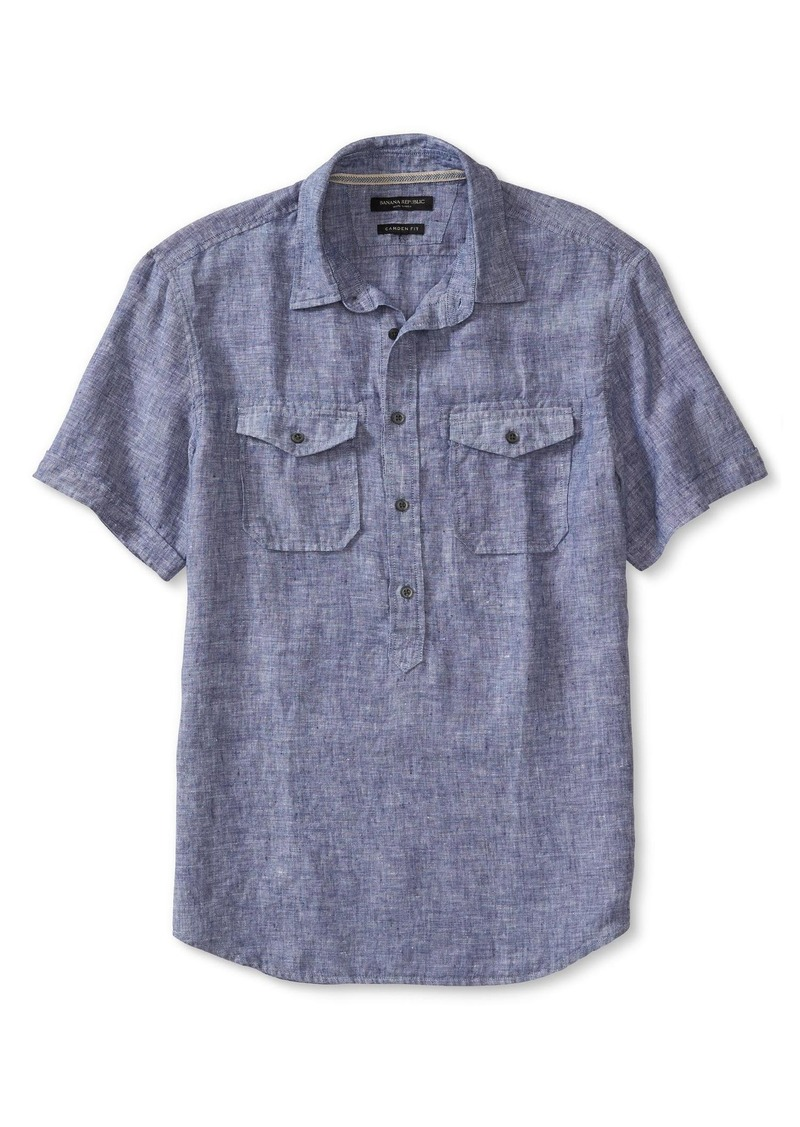 Banana Republic Camden-Fit Linen Popover Short-Sleeve Shirt