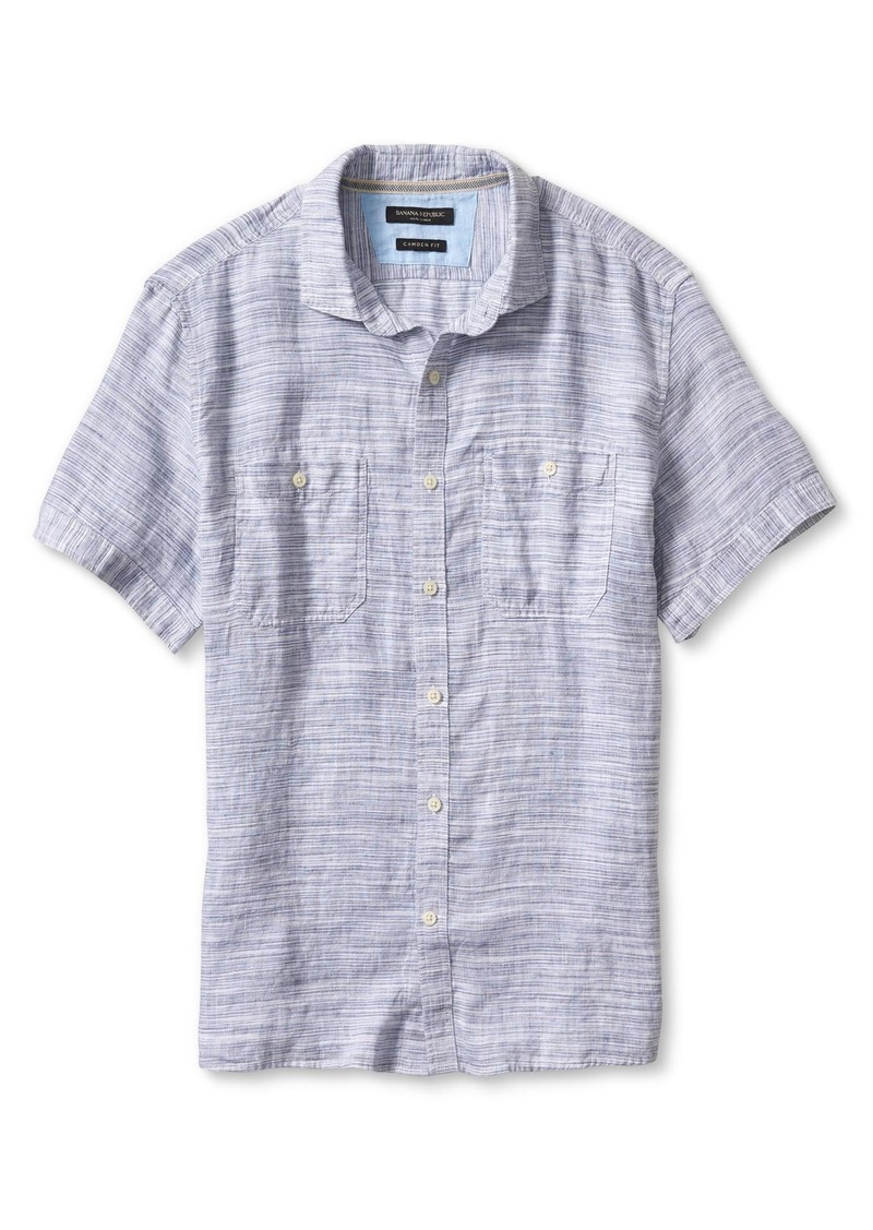 Banana Republic Camden-Fit Linen Space Dye Short-Sleeve Shirt