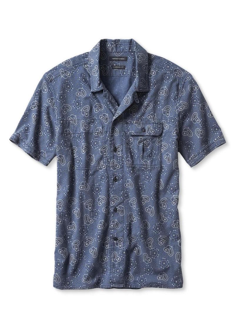 Banana Republic Camden-Fit Paisley Short-Sleeve Shirt