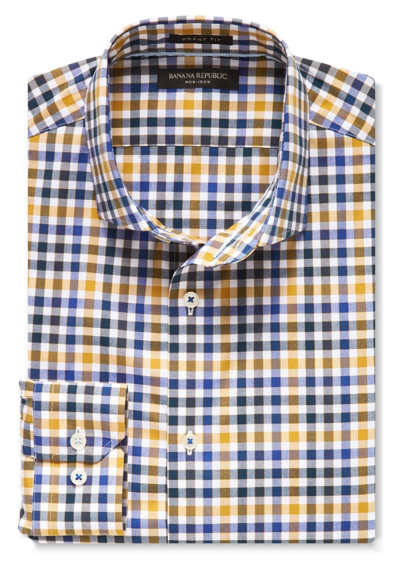 Banana Republic Camden-Fit Supima Cotton Tri-Tone Gingham Shirt