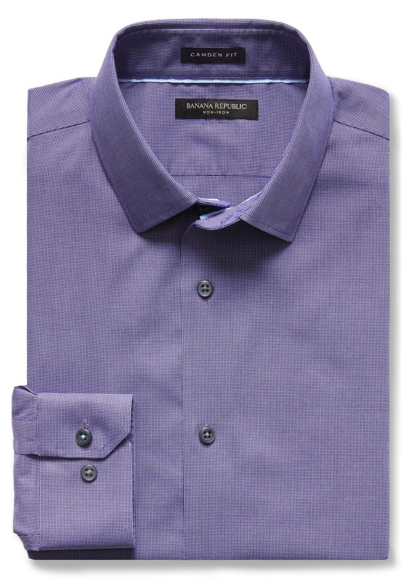 Banana Republic Camden-Fit Violet Textured Non-Iron Shirt
