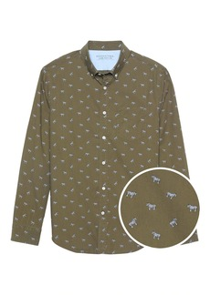 Banana Republic Camden Standard-Fit Luxe Poplin Zebra Print Shirt