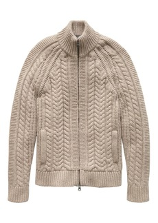 Banana Republic Cashmere Cable-Knit Full-Zip Sweater Jacket