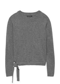 Banana Republic Cashmere Mesh-Sleeve Tie-Hem Sweater